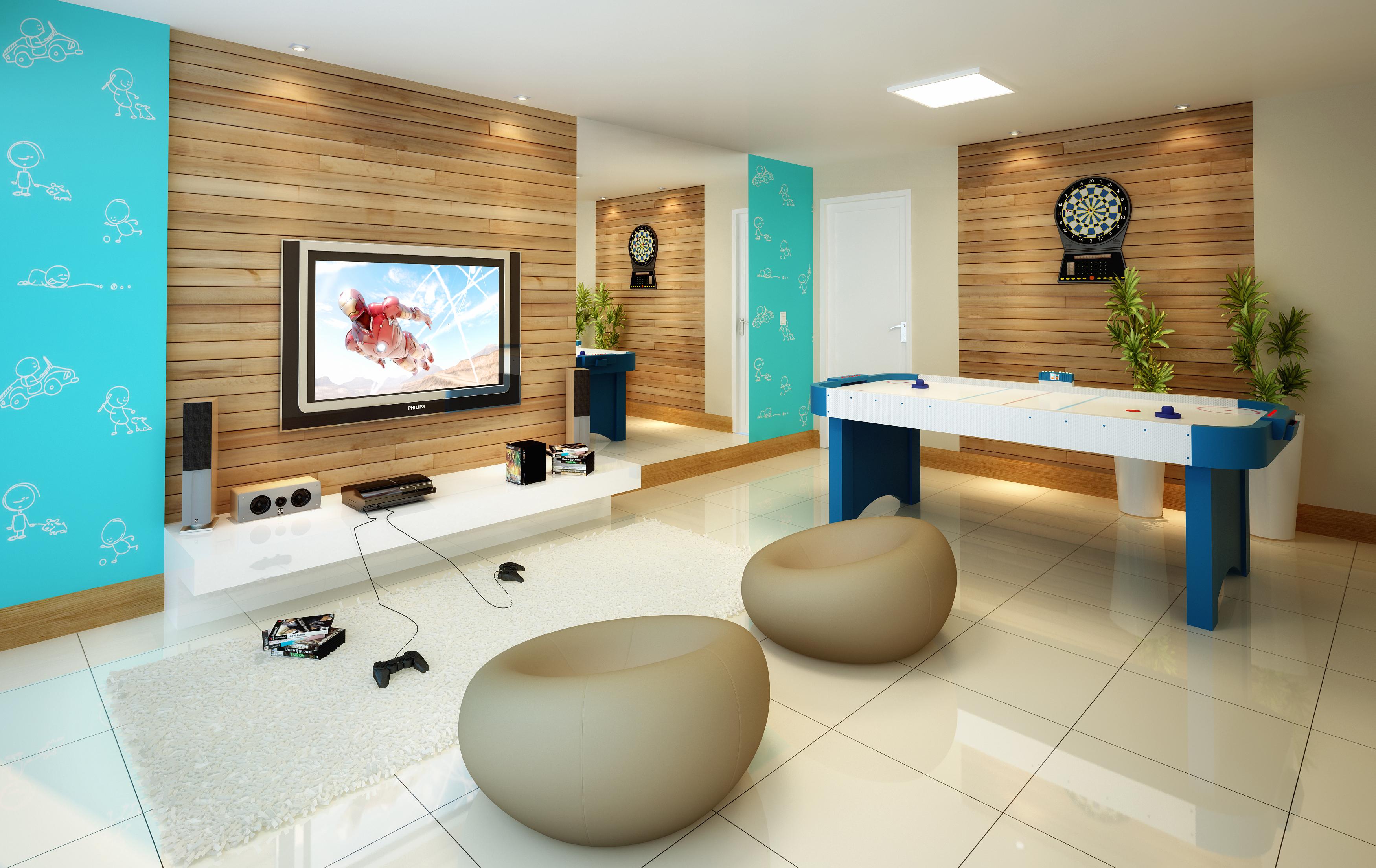 Sala De Tv E De Jogos ~ com equipamentos de qualidade para a hora de se exercitar